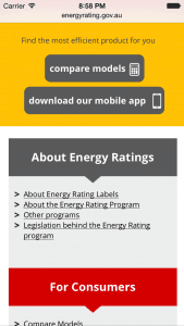 Energy Rating site on iPhone